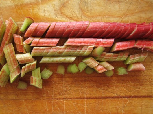 Chopped rhubarb - detail