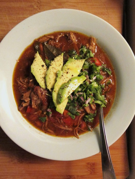 Brisket chili with avocado