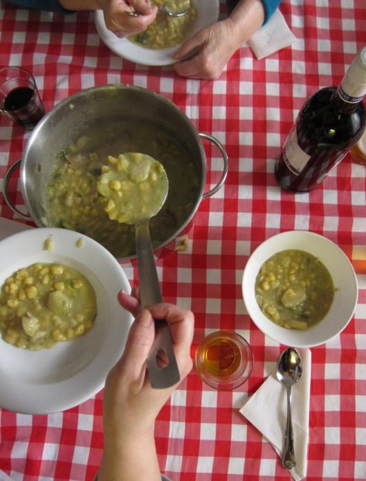 serving cazzarielli soup