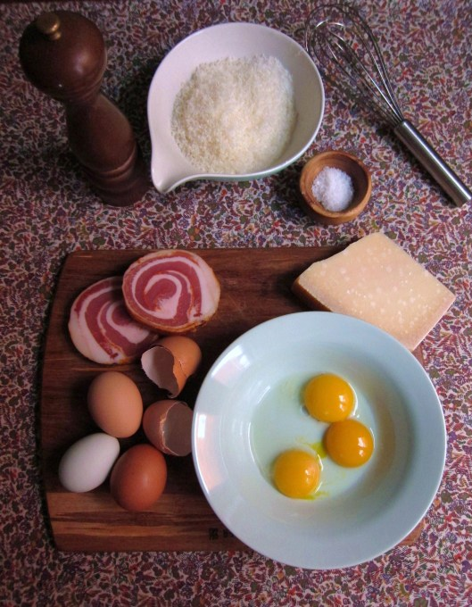 Carbonara ingredients