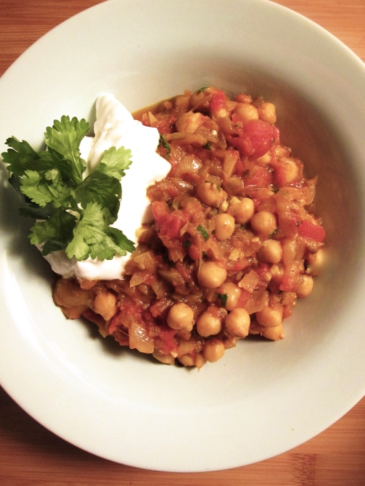 Spiced Eggplant with Chickpeas and Yogurt