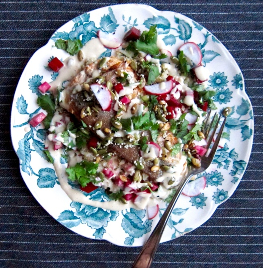 Arctic Char with Pulsed Cauliflower, Quick-Pickled Beets and Tahini Dressing